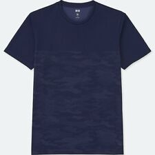 UNIQLO 'Dry-Ex Shadow Camouflage' Fitness Athletic T-Shirt Men's XL NAVY **NWT**