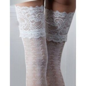 BRIDAL LACE DESIGN LACE TOP HOLD UPS BRIDE WEDDING IN IVORY - MEDIUM & LARGE