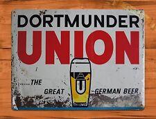 "TIN-UPS TIN SIGN ""Dortmunder Union German Beer"" Vintage Bar Ad Garage Alcohol"