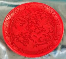 Vintage Chinese Cinnebar Plate Dish 8 inches wide