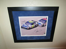 Dale Earnhardt Jr And Jimmie Johnson Dual Signed & Framed Dbl Matted GAI GM8806