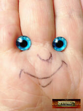 M01549 MOREZMORE Glass Eye Iris 8mm TEAL BLUE Flat Back Doll Baby A60