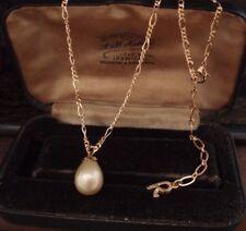 Vintage Pearl Drop Pendant Necklace & Figaro Gold Chain. Adjustable. Rosita