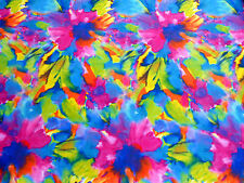 Power Stretch Fabric 4Way Tricot BRIGHT Multi Color Tie Dye Large Flowers Print