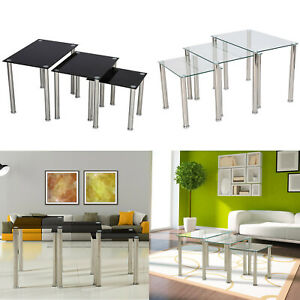 Nest of 3 Coffee Tables Black Glass glass nest tables Side End Tables Metal Legs