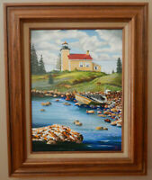 COPPER HARBOR MICHIGAN lighthouse original oil on canvas painting artist signed