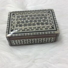 Vintage Estate Treasure Mother Of Pearl Inlay With Bone Jewelry Trinket Coin Box
