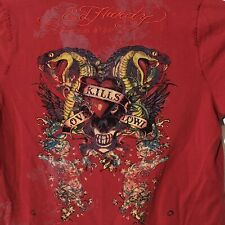 Ed Hardy Polo Shirt Red Skull Snake Cobra Love Kills Slowly Distressed Mens 2XL