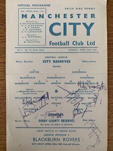 Manchester City v Derby County 61/2 Reserves Signed