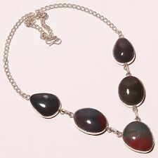 "Natural Green Jade Bloodstone Silver Plated Handmade Necklace 17""18"""