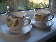 Denby Troubadour Cups & Saucers x 2 Stoneware Green British