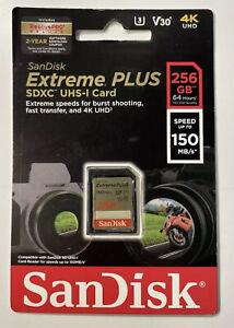 SanDisk 256GB SDXC UHS-I Extreme Plus 150MB/s Sealed New🌟‼️✅