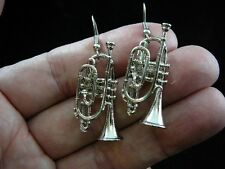 (M204-H) CORNET horn Earrings Nickel-Silver JEWELRY pierced wire horns cornets