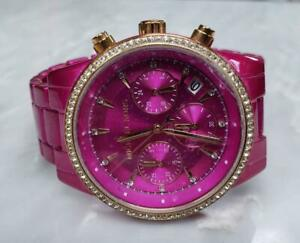 Michael Kors Hot Pink Tone Chronograph Wristwatch MK6718 ~ 9-H1373