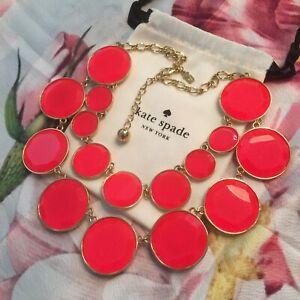 "STUNNING Kate Spade MAGIC FLO PINK TRANSLUCENT ""BAUBLEBOX"" Statement Necklace"
