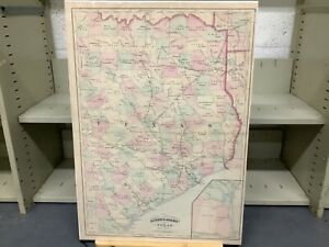 """1873 Asher And Adams' Map Of Eastern Texas 23.5 x 16.75"""" Hand-Colored"""