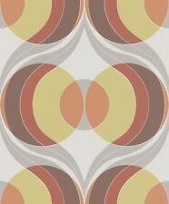 Tapete Retro Rasch 804720 Hot Spot Auge Kreise Weiß Grau Orange / EUR 2,72/qm