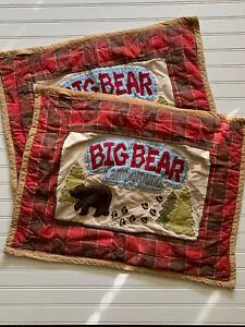 Woolrich Big Bear Campground PAIR Pillow Shams Red Plaid Standard