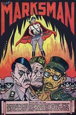 1942 WW2 USA MARKSMAN COMIC CARTOON HITLER TOJO MUSSOLINI NAZI AXIS WAR Postcard