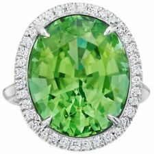 10.55 ct Oval cut Green tourmaline 925 sterling silver wedding engagement ring