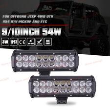 2x 10Inch 54W LED Light Bar Flood Spot Offroad Boat Ford Truck 4WD ATV 12V 24V
