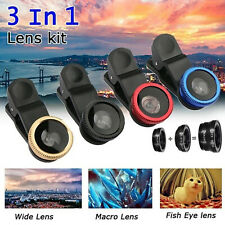 3 In 1 Wide Angle Fish Eye Macro Mobile Phone Camera Lens Clip Set For iPhone