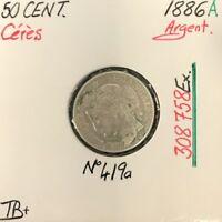 50 CENTIMES CERES - 1886A - Pièce de monnaie en Argent // TB+