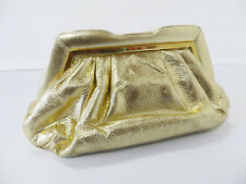 JUDITH LEIBER VINTAGE GOLD SNAKESKIN EVENING CLUTCH BAG PURSE WITH LEATHER STRAP