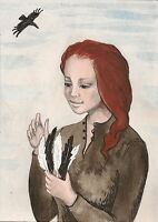 ACEO PRINT OF PAINTING RAVEN CROW RYTA FANTASY REDHEAD PORTRAIT FEMALE FEATHER