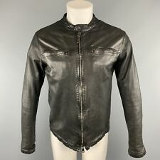 GIORGIO BRATO Size S Black Solid Leather Full Zip Jacket