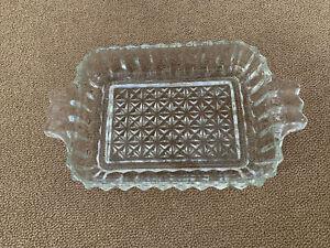 "Vintage Glass Starburst Etched Glass Soap Trinket Dish 7.5""x4.5"" (CT)"