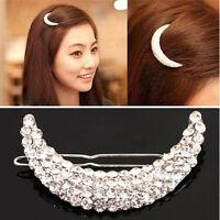 Vintage Women Crystal Moon Rhinestone Headwear Hairpin Hair Clip Fashion Jewelry