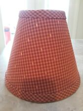 """Lampshade Red Check Fabric Clip On 6 X 4. 4 7/8"""" Tall."""