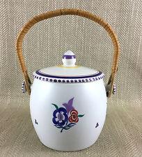 Poole Pottery Cookie Jar Storage Biscuit Vintage Hand Painted Lidded Pot Vtg