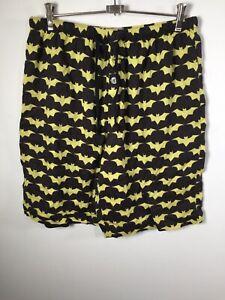 Peter Alexander Batman mens black yellow bat signal pyjama sleep shorts size L