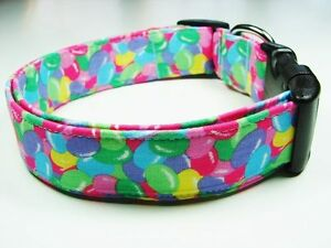Charming Blue, Purple, Green, Yellow & Pink Easter Jelly Beans Dog Collar
