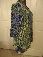 Nygard blu/grn tunic top with asymetrical hem, 3/4 slvs, chiffon hem insets,1x