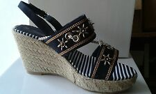 Ladies womens new blue esperdrille sandal shoe wedge heels u.k size 7