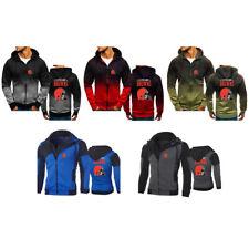 Cleveland Browns Hoodie Long sleeves Full Zip Sweatshirt Jacket Casual Coat