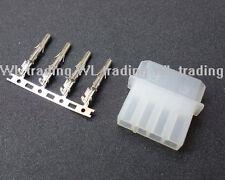 5 Sets White DIY PC Power Connector 4P 4 Pin Male Molex Mod Crimp Plug Pin Pins