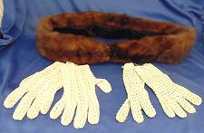 Dark mink fur collar 2 pair white crochet gloves clothing accessories classic