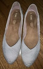Tom's Jutti Drizzle Grey Scattered Woven Ballet Flats - Women's Size 10
