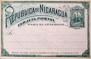 "NICARAGUA 1891 ""PARA EL INTERIOR"" PRINTED 2c UNUSED POSTAL STATIONERY CARD"