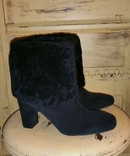 ROCKPORT LADIES BLACK SUEDE SHEARLING FUR ANKLE BOOTIES HIGH HEEL BOOTS 8.5 M
