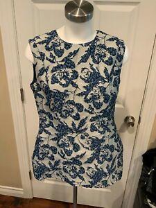CH Carolina Herrera Silver Sleeveless Top w/ Blue Textured Floral, Size 12