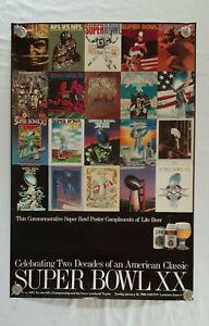 """Vintage Lite Beer / NFL Super Bowls I to XX Poster (1986) - 36"""" x 24"""""""