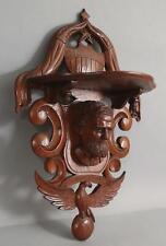 Antique American Shield & Eagle Civil War Folk Art Carved Wood Portrait Shelf