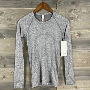 NWT Lululemon Womens Stale White/Gray Swiftly Tech Long Sleeve Shirt 2.0