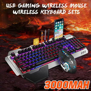 Rainbow Gaming Keyboard and Mouse Wireless LED Backlit for Laptops PC/PS4 UK