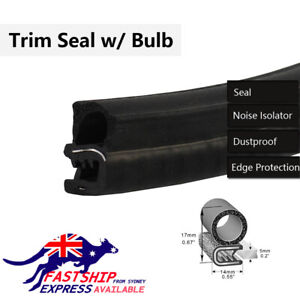 6M Waterproof Trim-Lok Trim Seal with Top Bulb Prevent Noise Heat Dust Enter